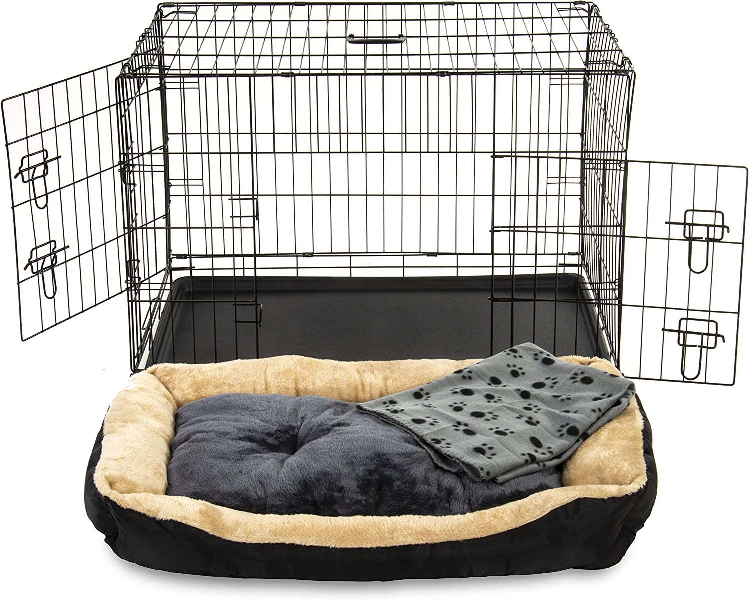 Alphapet/® Heavy Duty Pet Dog Cage INCLUDING FITTED FLEECE BED AND BLANKET Puppy Rabbit Animal Car Cage Crate Foldable Carrier Run Hutch Available in 5 Sizes 48 XX Large with Bed