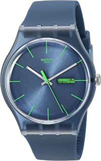 Swatch Men's SUON700 Quartz Navy Blue Dial Plastic Date  Luminous Watch