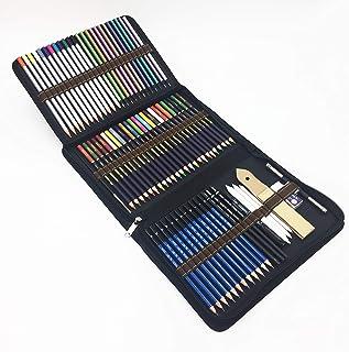 72PCS Crayons de couleurs avec Sac Inclus crayons aquarellables,Crayons Fusain et accessoire dessin dans une grosse trouss...