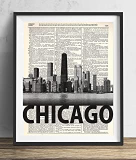 Chicago Skyline With Bold Name Dictionary Art Print 8x10