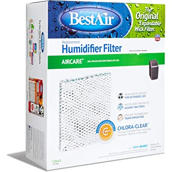 """BestAir CB43, Essick 1043 Replacement, Paper Wick Humidifier Filter, 10.8"""" x 4.2"""" x 12.5"""", Single Pack, White"""
