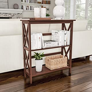 Lavish Home A022351 Home 3-Shelf Bookcase-Open Criss-Cross Style Bookshelf, Wooden Shelving Unit for Decoration, Storage and Display in Home & Office (Brown)