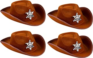 Cowboy Sheriff's Hat for Kids - 4-Pack Novelty Children Cowboy Western Hats with Badge for Birthdays, Party Favors, Brown