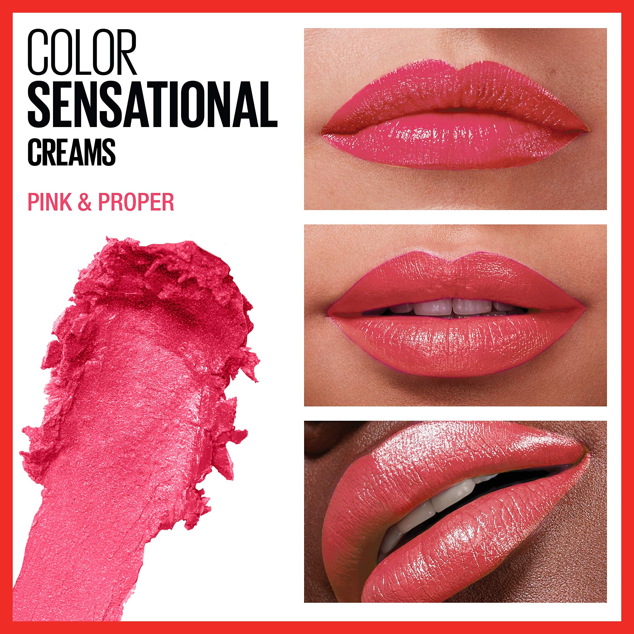 Maybelline Color Sensational Lipstick, Lip Makeup, Cream Finish, Hydrating Lipstick, Nude, Pink, Red, Plum Lip Color, Pink and Proper, 0.15 oz; (Packaging May Vary)