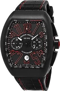 Vanguard Mens Black Face Automatic Chronograph Date Black Rubber Strap Swiss Watch V 45 CC DT TT NB ER