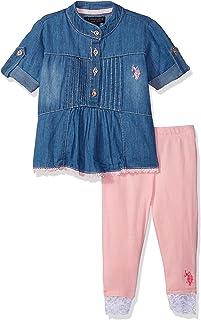 U.S. Polo Assn. Baby Girl's Fashion Top and Legging Set Pants