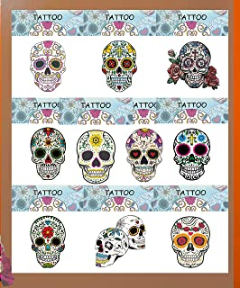 Halloween Temporary Face Tattoos Sugar Skull Puppy Black Skeleton Skull Tattoo Sticker for Kids Adults