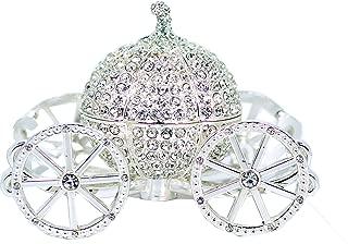 VI N VI Silver Rhinestone Princess Cinderella Crystal Pumpkin Carriage Trinket Box, Jewelry Box/Hand Painted Collectible Figurine and Decorative Jewelry Display, Holder, and Organizer