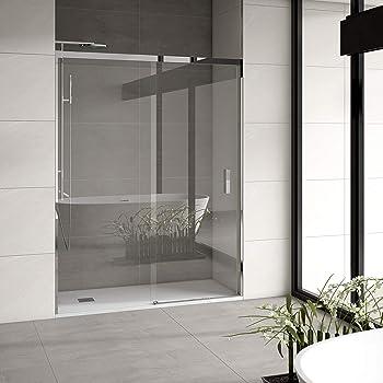 Mampara de ducha frontal 1 hoja fija + 1 hoja corredera con cristal transparente templado de seguridad de 4mm modelo Bricodomo Catalonia ANCHO 160 (Adaptable 158 a 160cm): Amazon.es: Bricolaje y herramientas