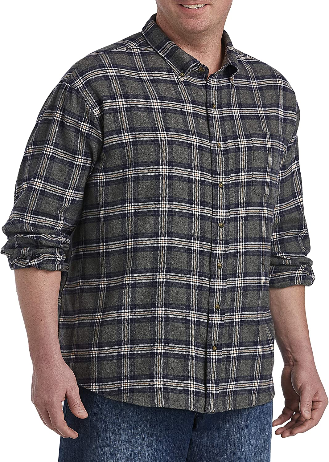 Harbor Bay by DXL Big and Tall Plaid Flannel Shirt, Grey Heather