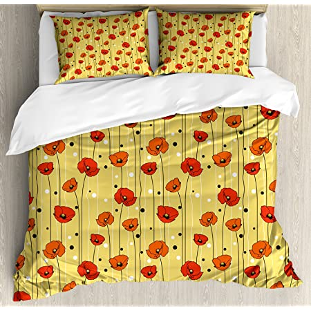 Ambesonne Poppy Duvet Cover Set, Abstract Lines with Dots Floral Arrangement Ornamental Spotted Illustration Petals, Decorative 3 Piece Bedding Set with 2 Pillow Shams, King Size, Yellow Orange