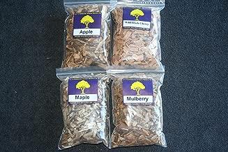 J.C.'s Smoking Wood Chips - Variety 4 Pk - 65 Cu Inch Quart Bags of Apple, Wild Black Cherry, Maple & Mulberry