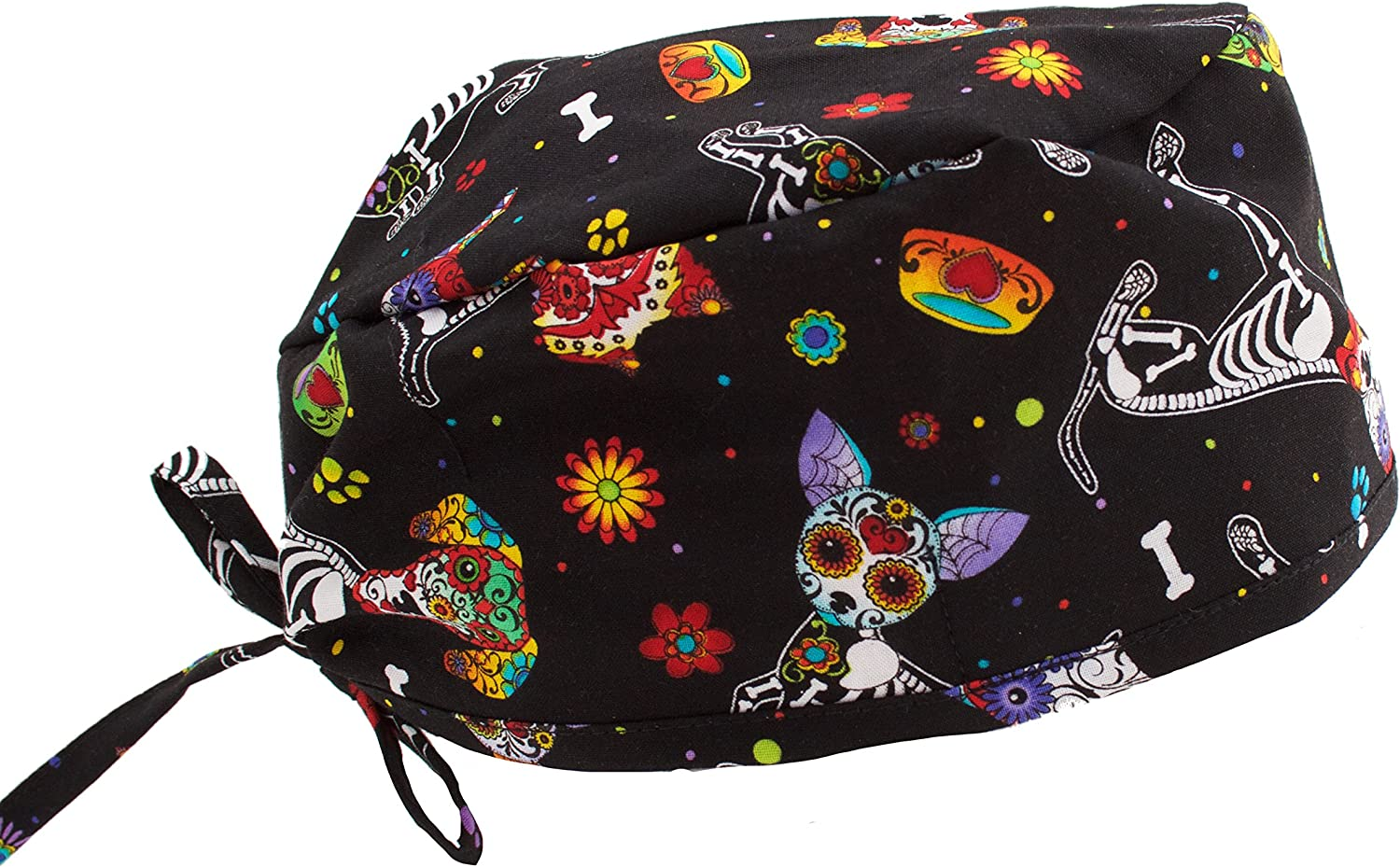 Funny Colorful X-Ray Dogs Scrub Cap Hat Green