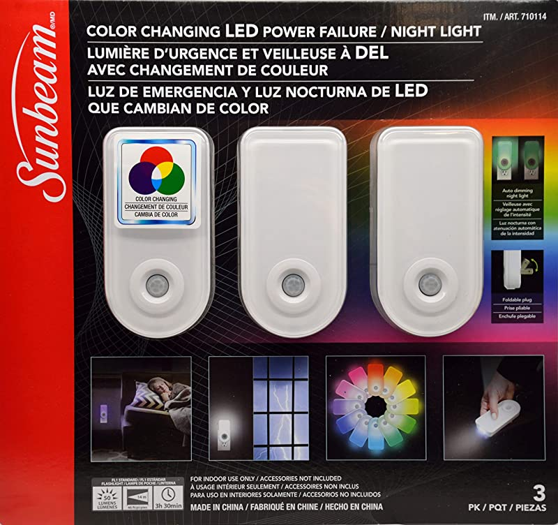 Sunbeam Color Changing LED Power Failure Night Light 3 Pack