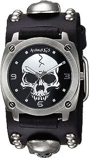 Men's MSK926K Punk Rock Collection Black Heavy Duty Skull Leather Band Watch