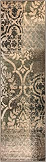 Superior Bristol Collection Area Rug, 8mm Pile Height with Jute Backing, Chic Geometric Damask Patchwork Design, Fashionable and Affordable Woven Rugs - 2'7