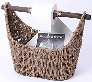 Vintiquewise QI003417 Free Standing Magazine and Toilet Paper Holder Basket with Wooden Rod