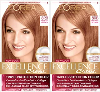 L'Oreal Paris Excellence Creme Permanent Hair Color, 8RB Medium Reddish Blonde, Pack of 2 100% Gray Coverage Hair Dye