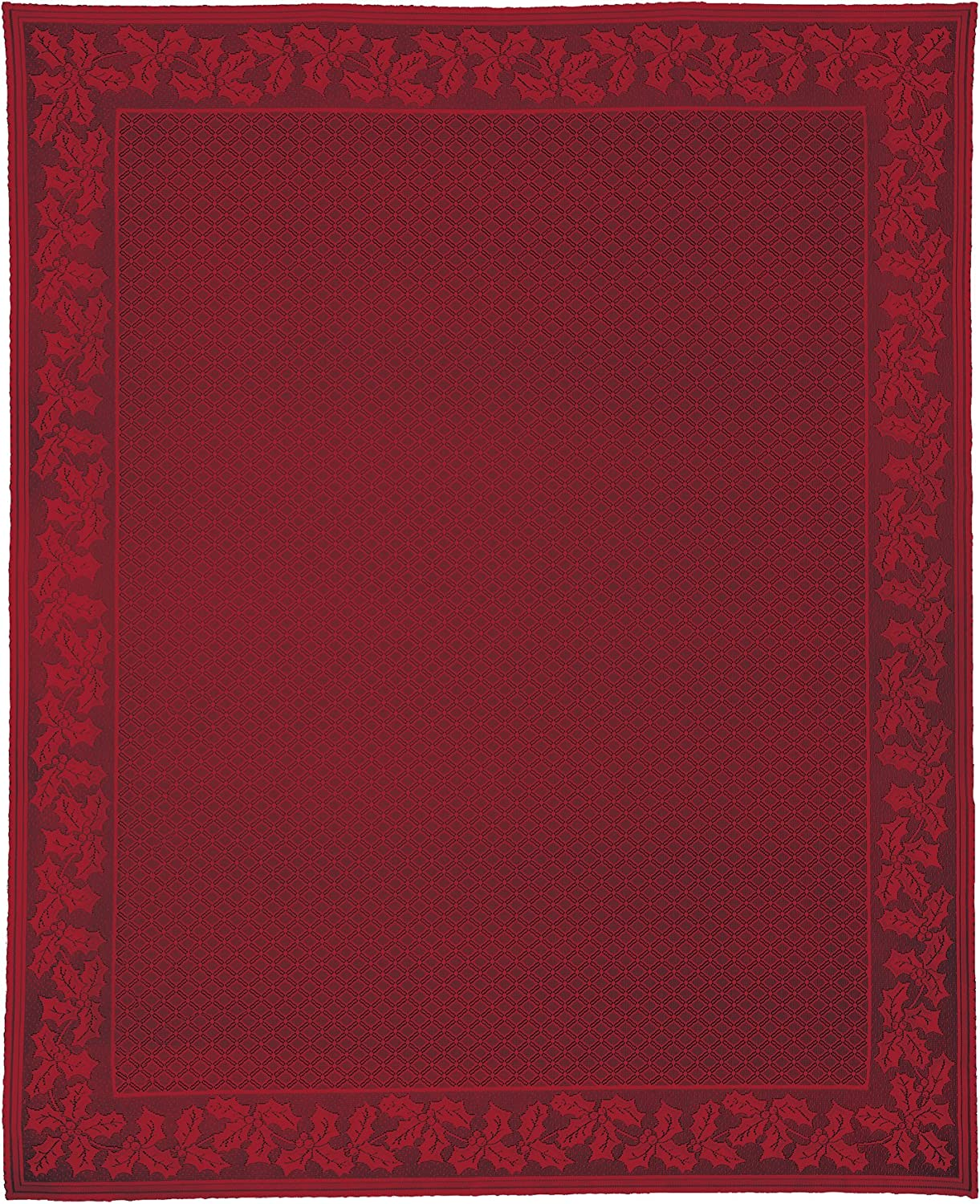 Heritage Lace Holly Vine Rectangle Tablecloth, 70  by 90 , Red