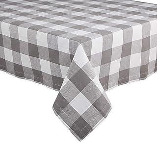 DII Buffalo Check Collection Classic Tabletop, Tablecloth, 60x104, Gray & White