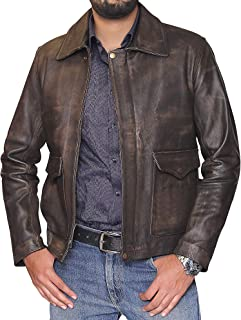 EU Fashions Mens Indiana Jons Harrison Ford Genuine Cow Hide Distressed Leather Jacket