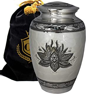 Lotus Tranquility - Funeral, Burial, Niche Or Columbarium Adult Cremation Urn for Human Ashes - 100% Brass - Adult, Large (White, Adult/Large)