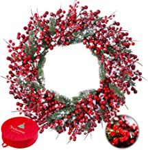 Frdsomar Large Berry Christmas Wreath with Storage Container for Front Door, 24inch Artificial Holly Berry Wreath,Winter W...