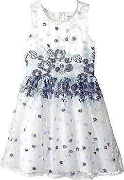 Embroidered Blue Floral Dress (Little Kids/Big Kids)