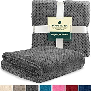 PAVILIA Waffle Textured Fleece Throw Blanket for Couch Sofa, Charcoal Gray