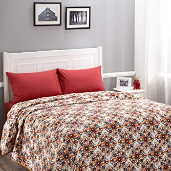Maspar Donatella 100 GSM Floral Cotton Reversible Double Comforter Orange
