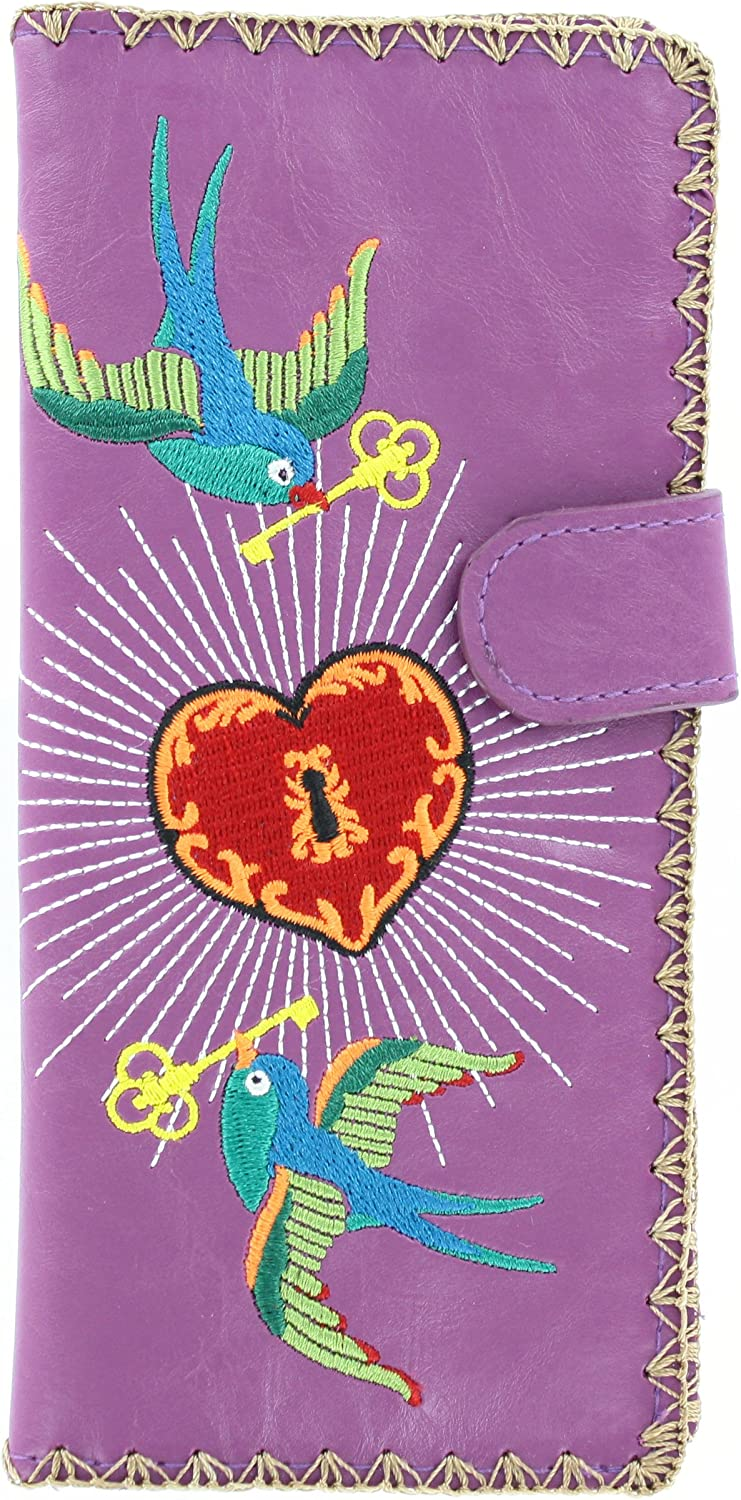 Birds w Key to Heart Embroidered Vegan Leather Wallet
