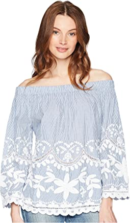 Striped Cotton Voile Off Shoulder Top with Embroidery