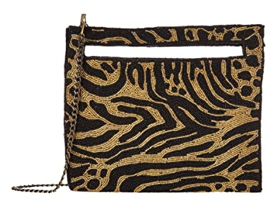 Sam Edelman Esma Beaded Clutch (Gold/Black Zebra) Handbags