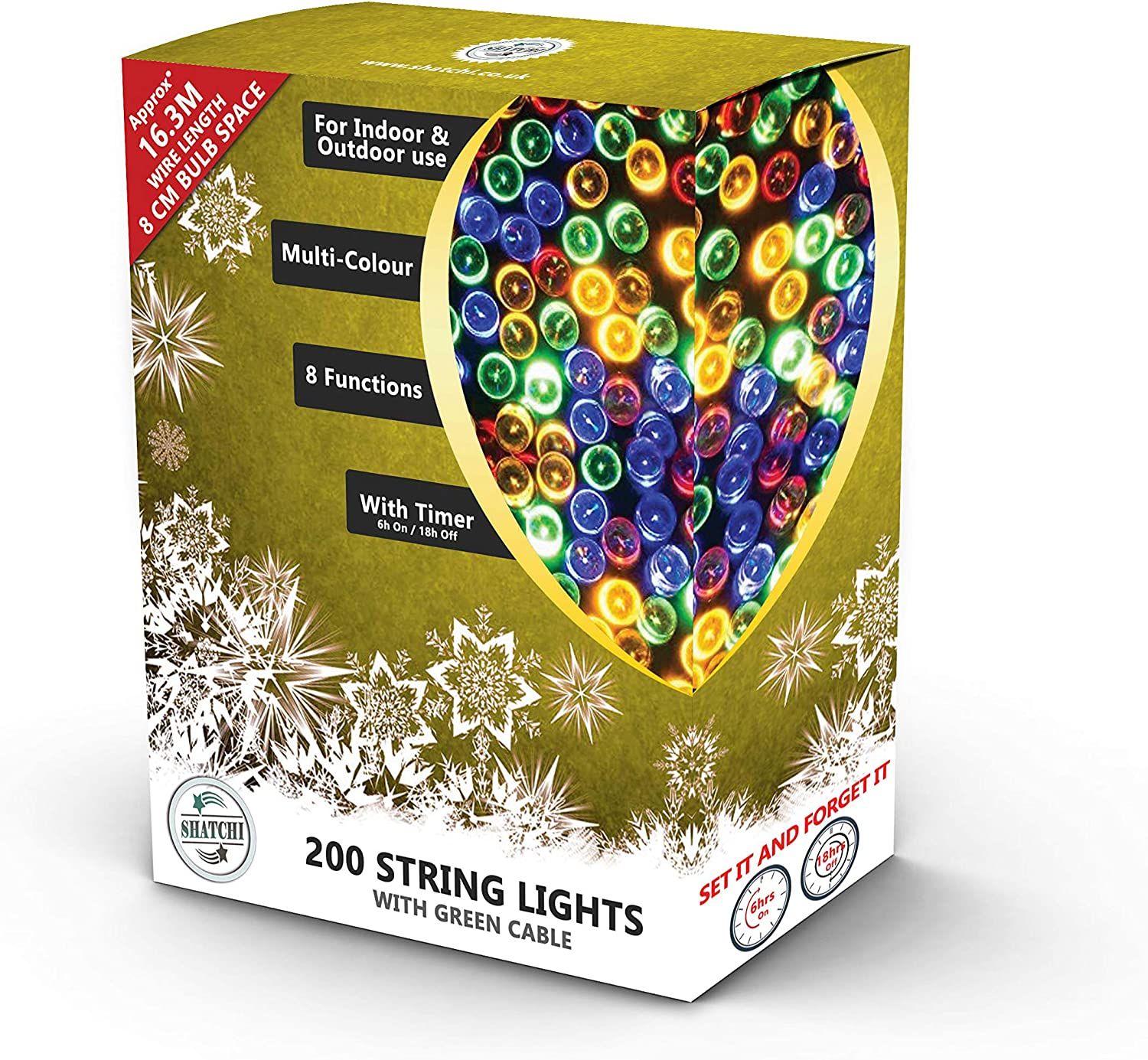 Cool White SHATCHI 200 LEDs 25m Bright Indoor//Outdoor String Christmas Tree//Home//Party//Wedding//Garden Decorations Green Cable 8 Modes Mains Powered Memory Auto Timer Fairy Lights