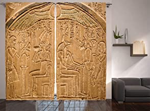 Ambesonne Egyptian Decor Collection, Egyptian Hieroglyphics on the Wall Stone Surface Scripts Picture, Living Room Bedroom Curtain 2 Panels Set, 108 X 90 Inches, Beige Ecru Ivory