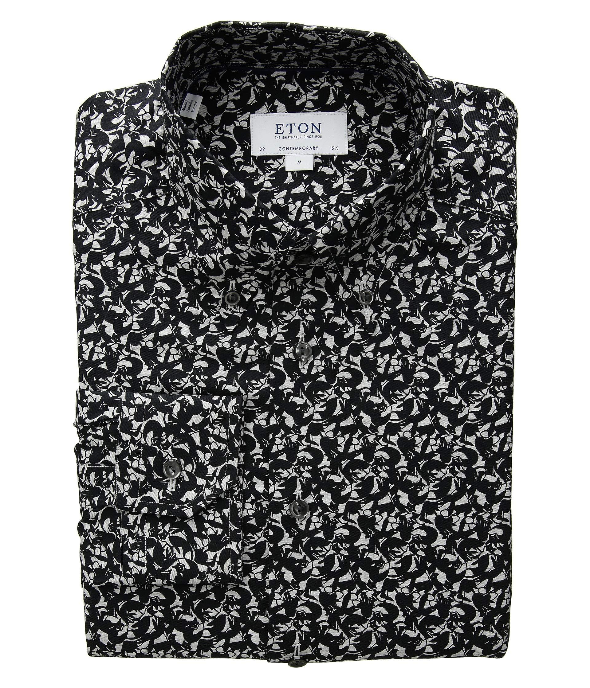 Slim Fox Down Fit Black Button Shirt Eton Print g1WUZ1xq