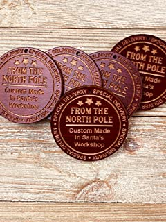 Santa's Workshop North Pole Christmas Gift Tags (5) from Solid Wood