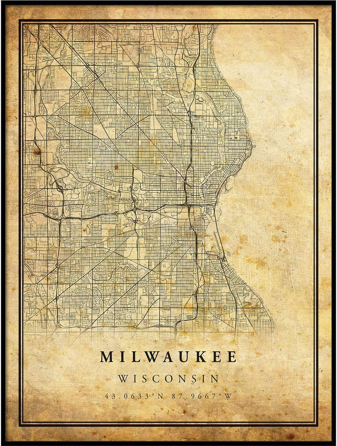 Milwaukee Max 40% OFF map Vintage Style Poster Artwork Print City Prin Old Super Special SALE held