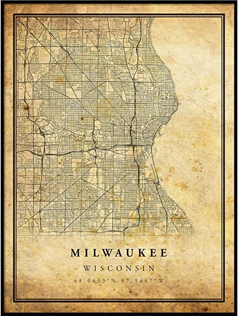Map Home Decor Vintage Map Poster Art Print Wisconsin
