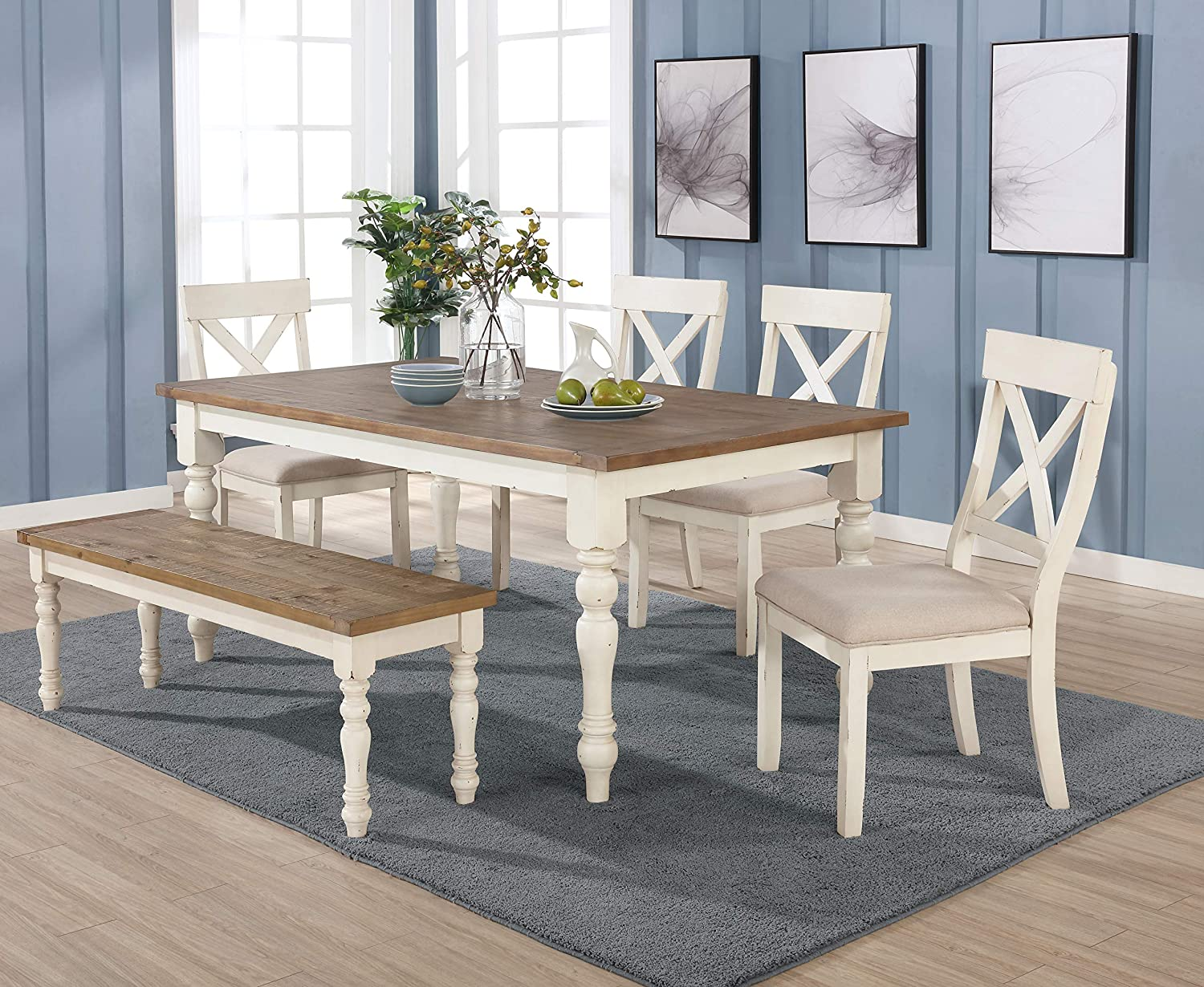 Roundhill Furniture Prato 9 Piece Dining Table Set with Cross Back Chairs  and Bench, Antique White and Distressed Oak