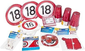 Heku 30006–18: Fiesta de cumpleaños Juego de 18º cumpleaños con Platos, Vasos, servilletas, Globos, serpentinas, Rotor espirales, una Guirnalda y cordón de Seguridad, 133Piezas