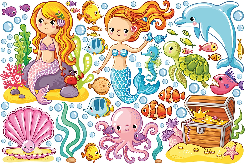 Bilderwelten Wandtattoo Meerjungfrau - Unterwasserwelt Set Set Set Wandtattoo Wandsticker Kinderzimmer Illustration, Größe  40cm x 60cm B074QQ42H8 b379e5