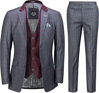Mens 3 Piece Grey Blue Retro Grid Check Suit with Double Breasted Waistcoat Tailored Fit