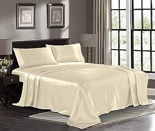 Fresh Linen Ultra Soft Silky Satin Bed Sheet Set with Pillowcase, Queen, Ivory