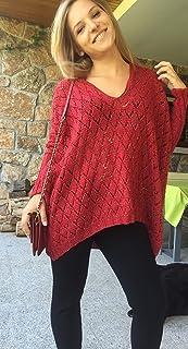 Jersey oversize hecho a mano de color rojo para mujer o chica