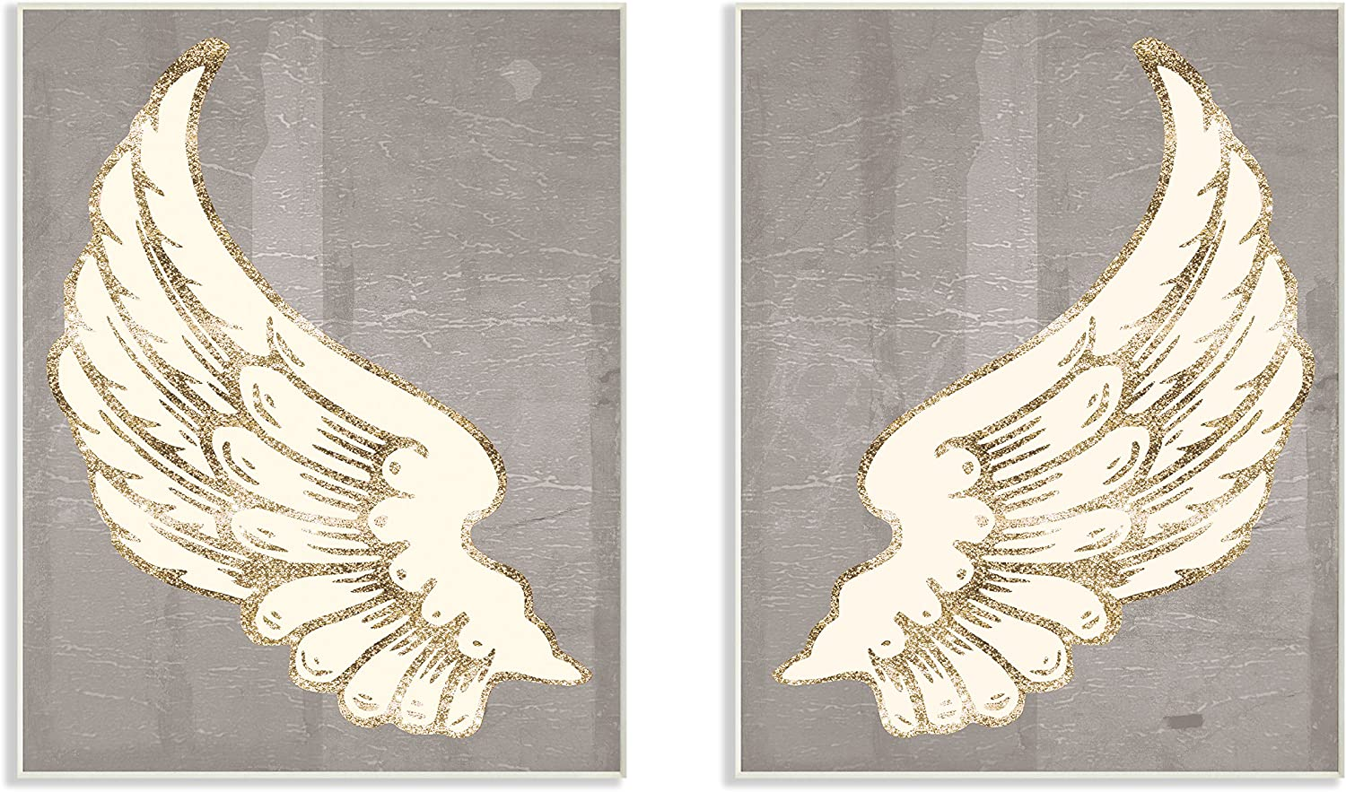 Stupell Home Décor Modern Baroque Angel Wings Dark Grey 2pc Wall Plaque Art Set, 10 x 0.5 x 15, Proudly Made in USA