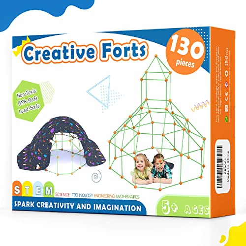 popular Kids-Fort-Building-Kit-130 Pieces-Creative Fort Toy for 5,6,7 Years Old Boy & Girls- Learning online Toys DIY Building Castles Tunnels Play Tent Rocket Tower Indoor outlet online sale & Outdoor online