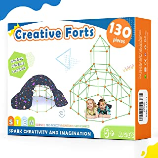 Kids-Fort-Building-Kits-130 Pieces-Creative Fort Toy for 5,6,7 Years Old Boy & Girls- Learning Toys DIY Building Castles T...