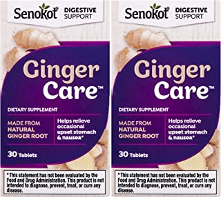 Senokot Ginger Care, Nausea & Upset Stomach Relief, Dietary Supplement Tablet (30 Tablets), Pack of 2
