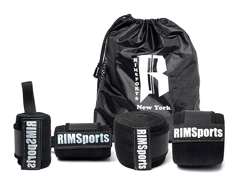 RIMSports Wrist Wrap - Knee Wrap Combo Best Knee Support for Squats - Ideal Wrist Straps for Weightlifting - Preferred Weightlifting Knee Wraps 80